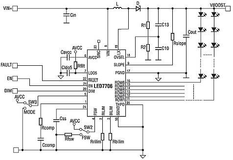 Рисунок 1 - Схема включення мікросхеми LED7706.  Вхідна її частина утворена лініями живлення VIN+, VIN...