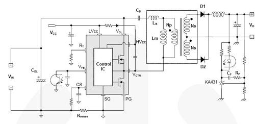 Типовое применение FSFA2100 в схеме асимметричного полумостового ШИМ-конвертора