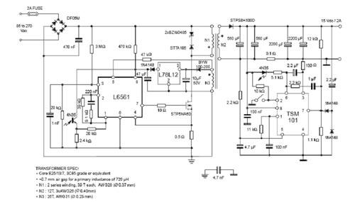 Схема  обратноходового преобразователя на микросхемах L656x.