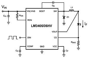 Схема включения драйвера LM3406/06HV