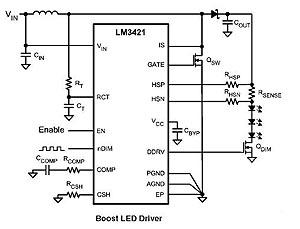 Схема включения драйвера LM3421