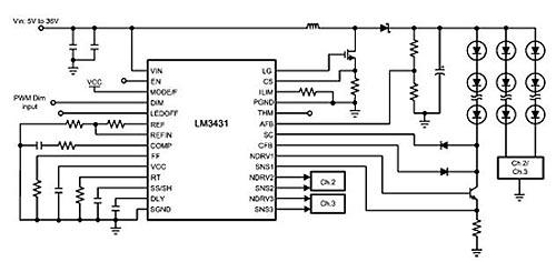 Схема включения драйвера LM3431