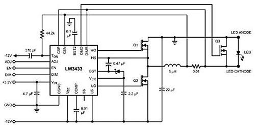 Схема включения драйвера LM34313