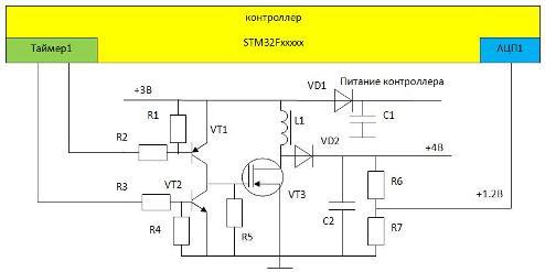 Рис. 1. Электрическая схема проекта повышающего DC-DC преобразователя на базе микроконтроллера.  M95.