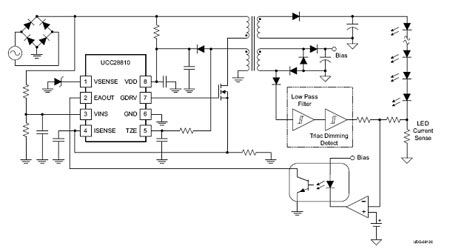 Рис. 9. Схема преобразователя для светодиодного светильника на микросхеме UCC28810.