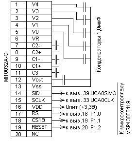 Пример подключения к микроконтроллеру MSP430F5419