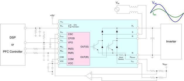 Импульсный преобразователь с коррекцией коэффициента мощности.  Схема применения.
