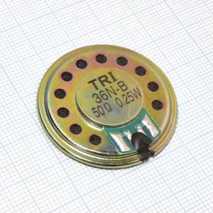 Капсюль динTRI-36N-B 50 Ом 0.25Вт, динамик ШП купить оптом и в розницу