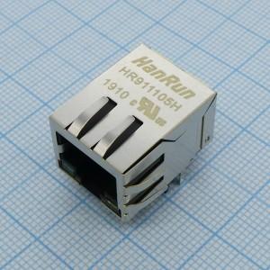 HR911105H, Разъём RJ45 Tab down 0.85 inch, TX 1CT:1CT RX 1CT:1CT LED: G/Y купить оптом и в розницу